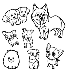 Coloring book dog set vector