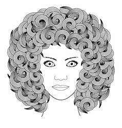 Adult coloring book portrait woman with curly hair vector