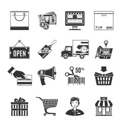 Shopping black icons set vector