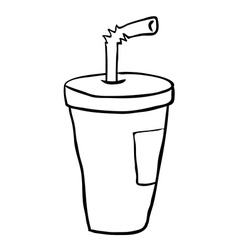 Black and white freehand drawn cartoon soda vector