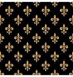 Golden fleur-de-lis seamless pattern black 1 vector