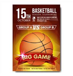 basketball poster basketball ball design vector image