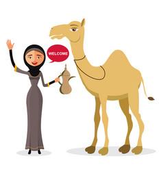 Bedouin arab woman walking leading a camel vector