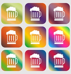 Beer glass icon sign nine buttons with bright vector