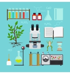 Biology laboratory icons vector