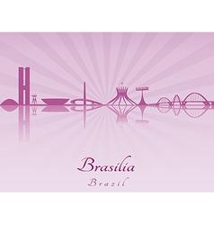 Brasilia skyline in purple radiant orchid vector