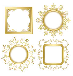 bright gold vintage frames with shadow vector image vector image
