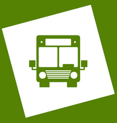 Bus sign white icon obtained vector
