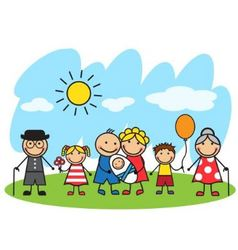 Cartoon big family standing on the lawn vector image