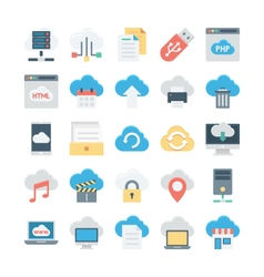 Cloud data technology colored icons 1 vector