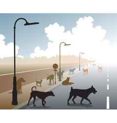 Dog road vector