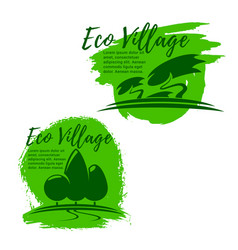 Eco village green living and ecology icon set vector