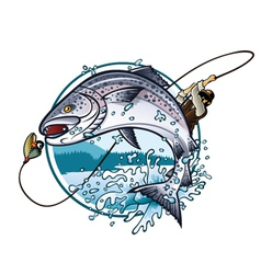 Fishing salmon vector