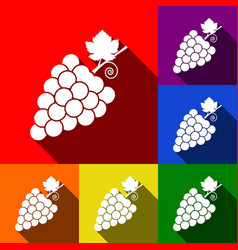 Grapes sign set of icons vector