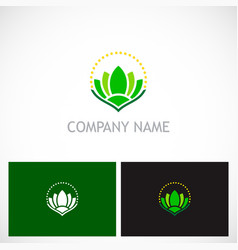 green lotus flower beauty spa logo vector image