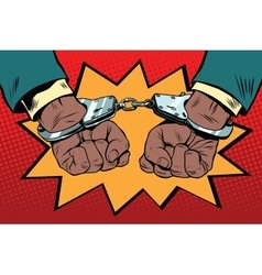 Handcuffs behind the back hands african american vector