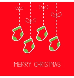 Hanging christmas socks dash line bow Christmas vector image