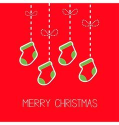 Hanging christmas socks dash line bow christmas vector
