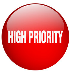 High priority red round gel isolated push button vector