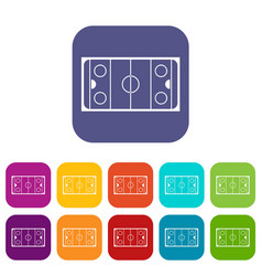Ice hockey rink icons set vector