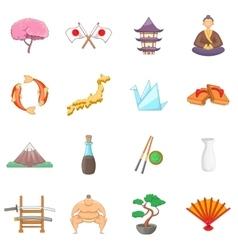 Japan icons set cartoon style vector