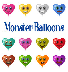 monster heart balloons set vector image