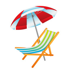 opened sun umbrella and deckchair vector image vector image