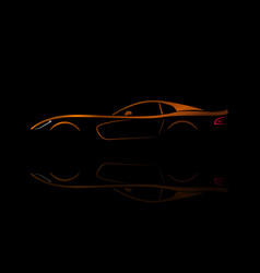 orange sport car silhouette with reflection vector image
