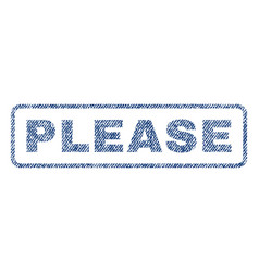 please textile stamp vector image