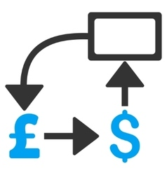 Pound dollar flow chart flat icon symbol vector