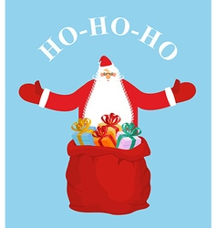 Santa Claus and gift bag HO-HO-HO Jolly Santa vector image
