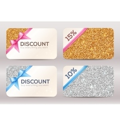 Set of golden and silver glitter discount cards vector image vector image