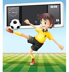 Soccer player in the field vector
