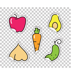stickers with images of vegetables avocado vector image vector image