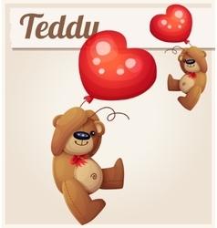 Teddy bear with heart balloon vector image vector image