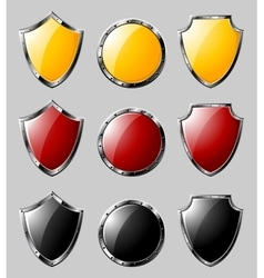 Set of steel shields vector image