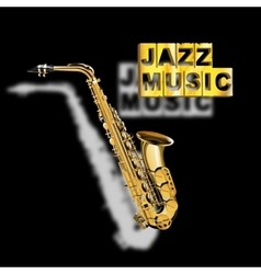 Saxophone jazz music with a blurred shadow vector