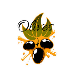Black olives and olive oil icon vector