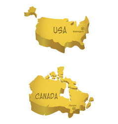 Usa and canada maps vector
