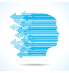 Blue arrow make the face of man vector image