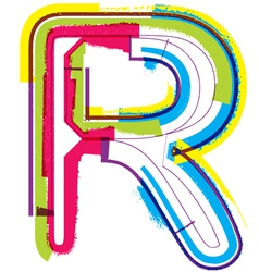 Colorful grunge font letter r vector