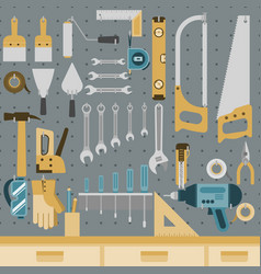 tools on peg board vector image