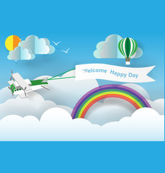 paper art of welcome happy day board with plane vector image