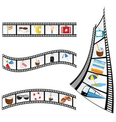 Film tape with beach items vector