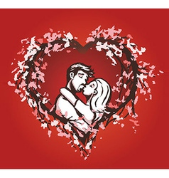 Cute couple kisses in a blossom heart vector