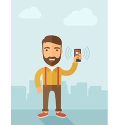 Man holding smartphone vector