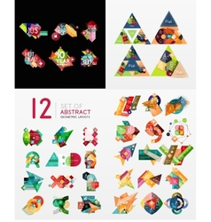 Colorful abstract geometric layouts mega vector