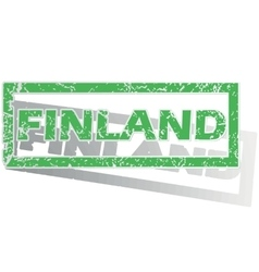 Green outlined finland stamp vector