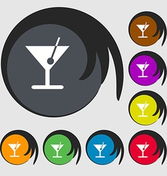 Cocktail icon sign symbol on eight colored buttons vector
