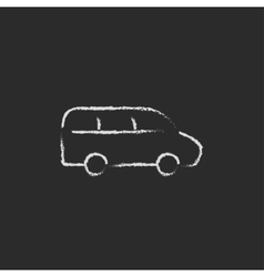 Van icon drawn in chalk vector
